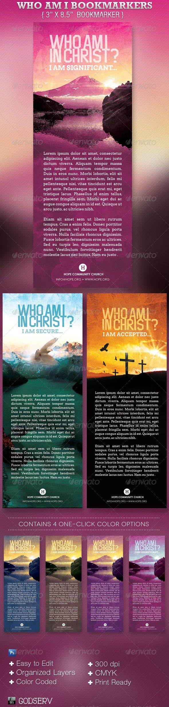Who Am I In Christ Bookmarker Template is for churches. The bookmarker can be used for commemorative gifts, motivational gifts, stocking stuffer, conversational or teaching events. Make it part of your arsenal in your template database.