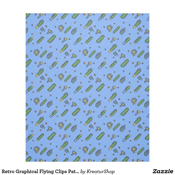 Retro Graphical Flying Clips Pattern on any Color