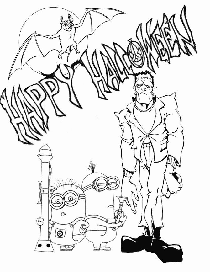 Minions With Frankenstein Coloring Page