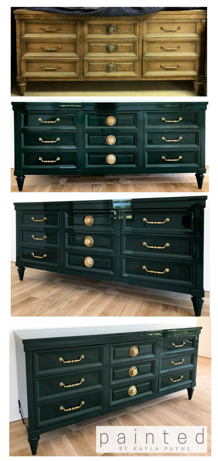 Benjamin Moore Salamander: Vintage dresser in Fine Paints of Europe   – Furniture Inspiration