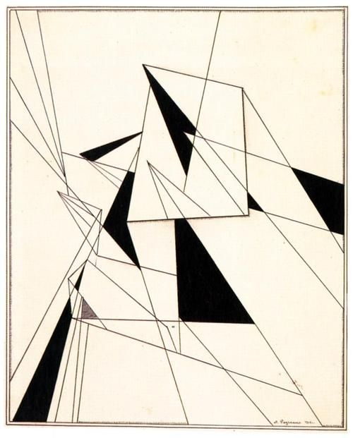 Alexander Rodchenko (Russian: 1891-1956), A Straightedge and Compass Drawing,1915.