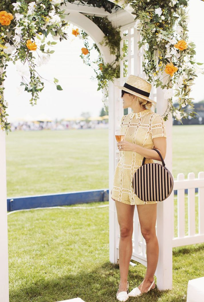 Browse 20 picture-perfect picnic outfit ideas at @stylecaster | @damselindior blogger in straw hat, yellow collared romper, white flats