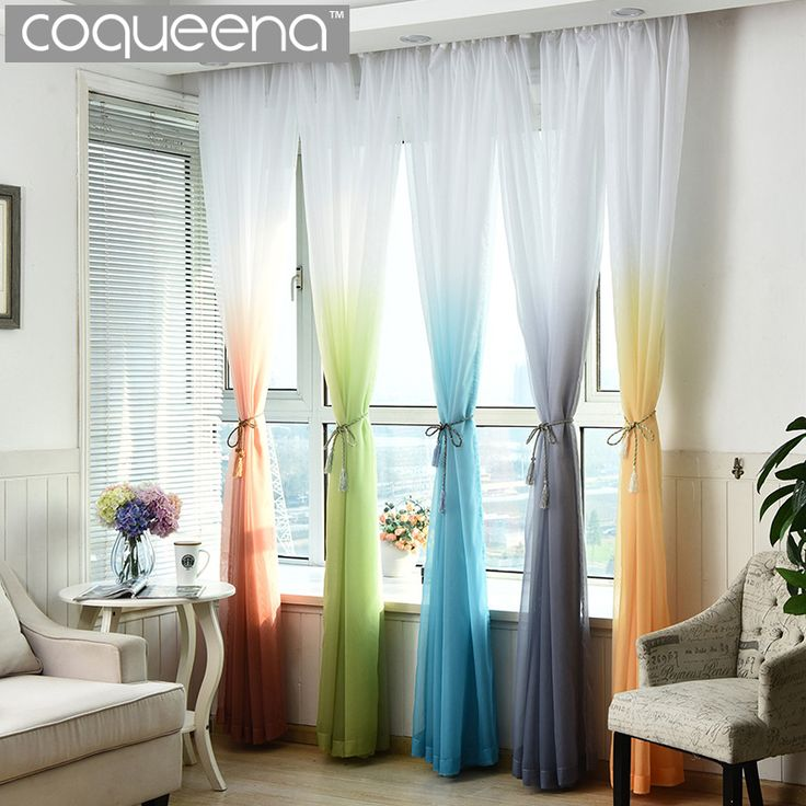 Cheap Ready Made Custom Sheer Voile Tulle Curtain for Living Room Bedroom Kitchen Door Window Treatments, Gradient Ramp, 1 PCS