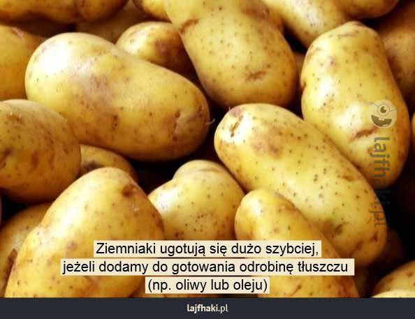 Gotowanie ziemniaków - Ziemniaki ugotują się dużo szybciej, jeżeli dodamy do gotowania odrobinę tłuszczu  (np. oliwy lub oleju)