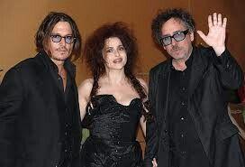Johnny Depp, Helena Bonham (esposa de Tim Burton), Tim Burton.