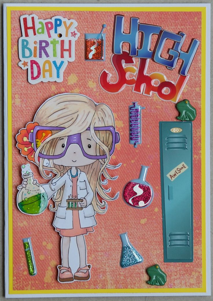 Birthday card 2017: Science theme: Paper from the DCWV Glam Rock Stack; Polka Doodles Digi, called Science; Jolee's stickers; Little Birdie message sticker; frogs are Dress It Up buttons