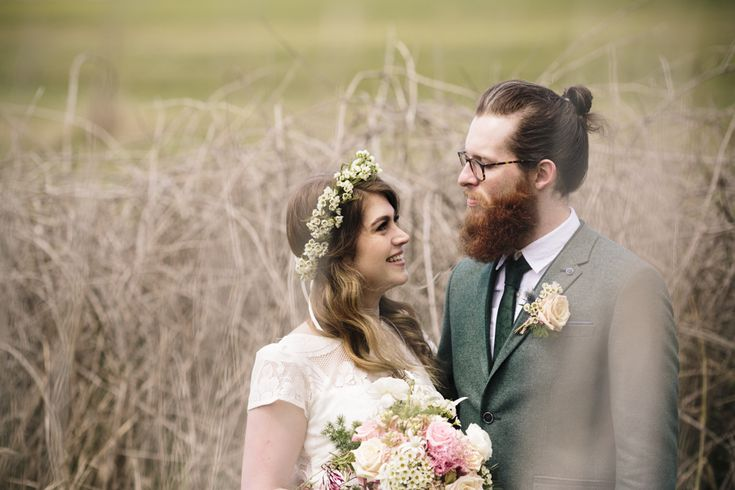 Bride and groom wedding portrait. Flower crown with geraldton wax flowers, bouquet by Barton Flower Bar.
