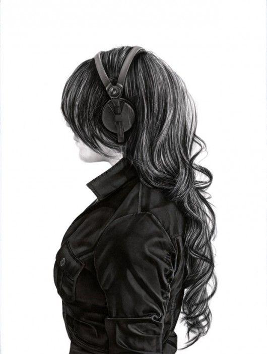 drawings of girl with headphones