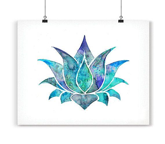 Blue Lotus Art Print Om Watercolor Poster Watercolor Yoga