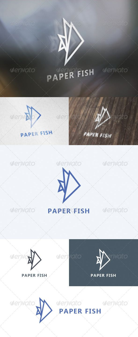 Paper Fish  Logo Design Template Vector #logotype Download it here: http://graphicriver.net/item/paper-fish-logo/5640500?s_rank=846?ref=nexion