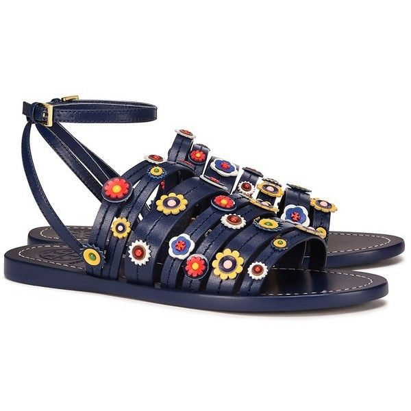 Tory Burch Marguerite Flat Sandals featuring polyvore women's fashion shoes sandals navy sea leather ankle strap sandals leather sandals navy flat sandals floral sandals flat shoes