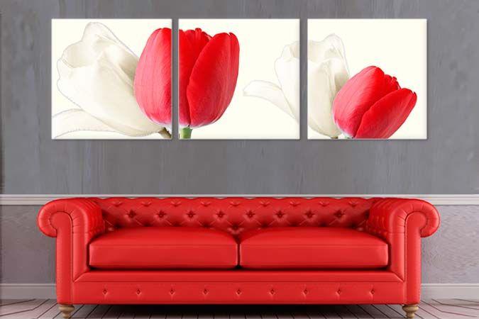 Lalele albe si rosii 2207- Tablouri canvas 3 piese- etablou.ro