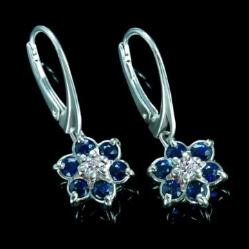 Floral earrings with diamonds, sapphires in white palladium gold 14K