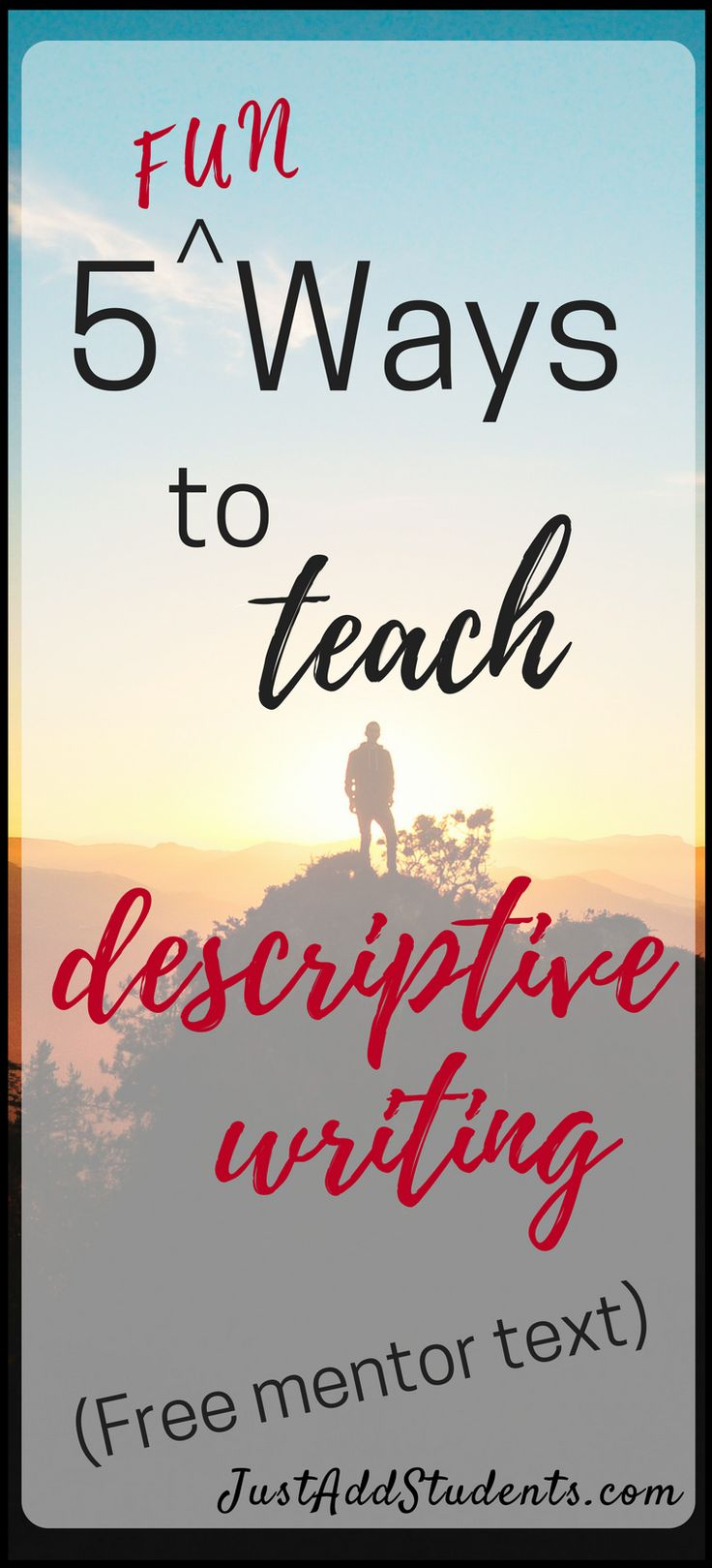 Need some fresh activities for teaching descriptive writing in middle school?  This post has 5 lessons you can use to do just that!  Five ready-to-use lessons plus a free mentor text analysis worksheet your students can use right away.  Great for writing workshop, differentiation, tutoring, and close reading.  #writing #lessons