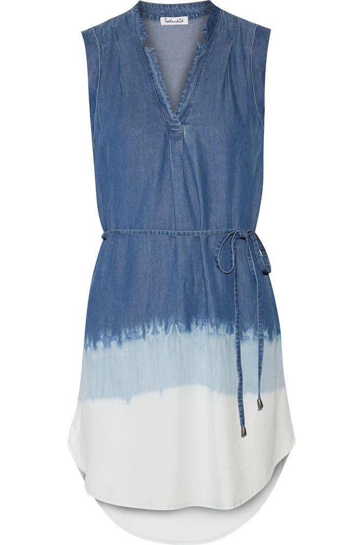 Splendid|Dégradé washed-denim mini dress|NET-A-PORTER.COM