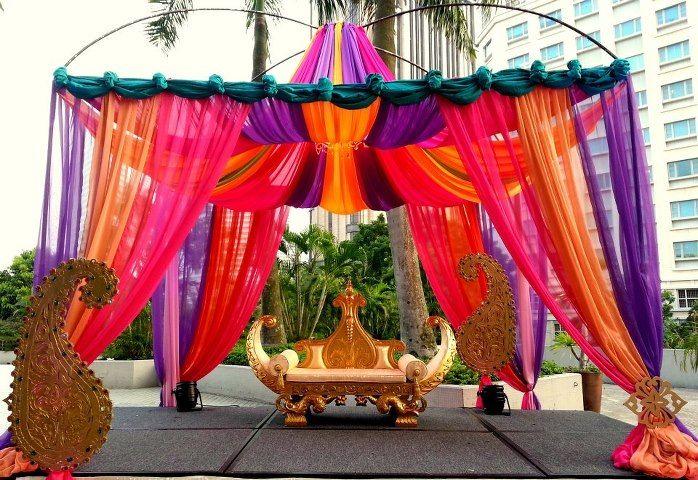 indian wedding Decor, fabric mandap, head table