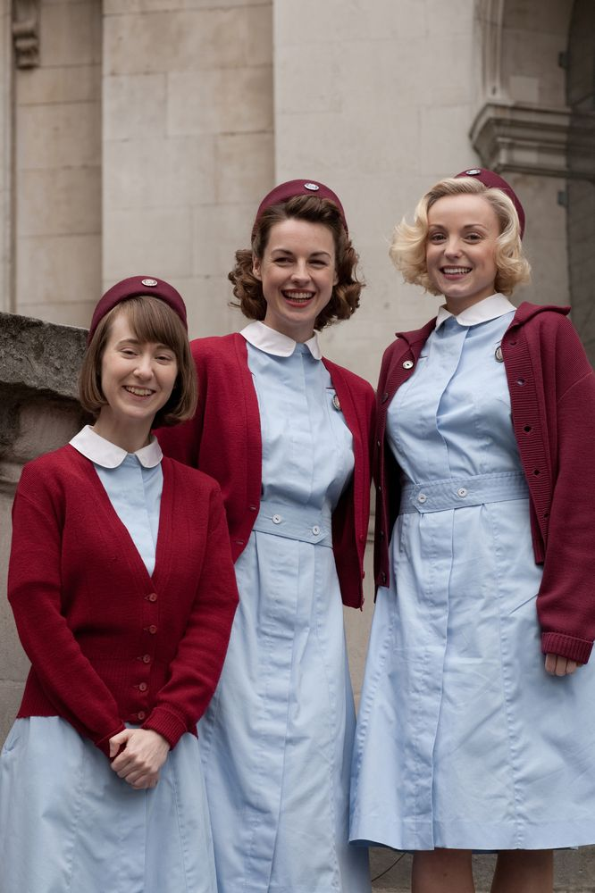 """Call The Midwife"" Cynthia (Bryony Hannah), Jenny (Jessica Raine), Trixie (Helen George). Photo by Laurence Cendrowicz © Neal Street Productions, 2011."