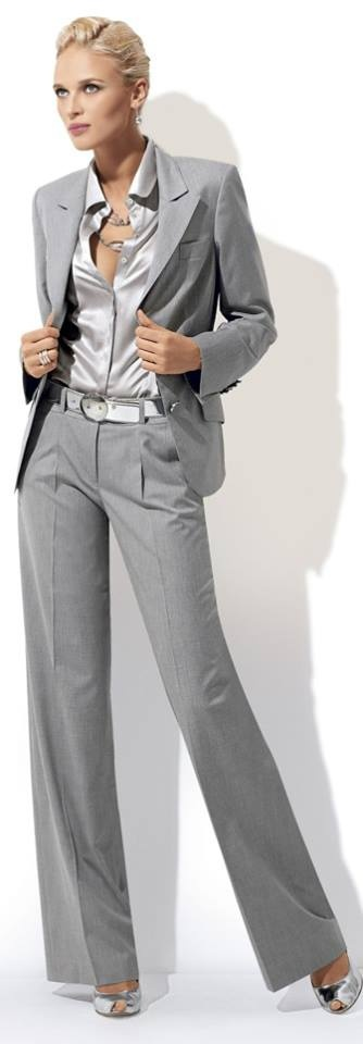 So smart and elegant in silvery grey - Love this look.