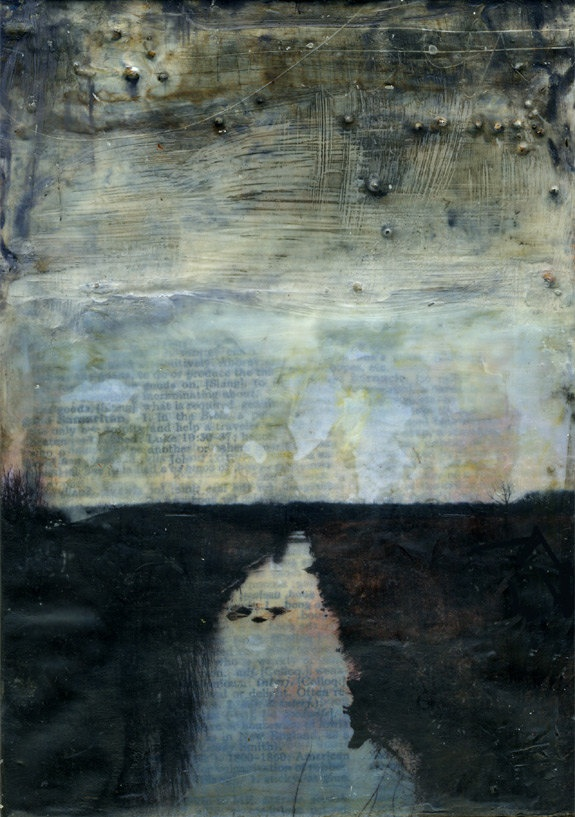 Encaustic mixed media: Between Here and There