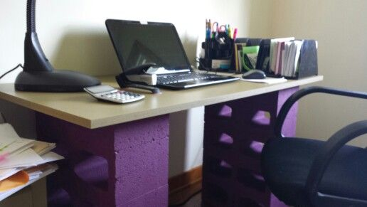 cinder block desk home decor pinterest cinder desks