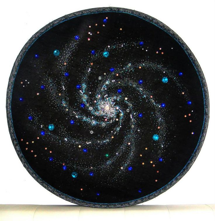 Beautiful space, spiral galaxy beadwork bead embroidery with swarovski crystals. My art. Вышивка бисером и ...