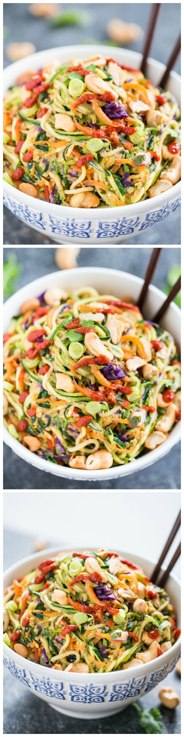 Rainbow Veggie Dragon Noodles - spiralized comfort food in a bowl, topped with extra sriracha if desired!