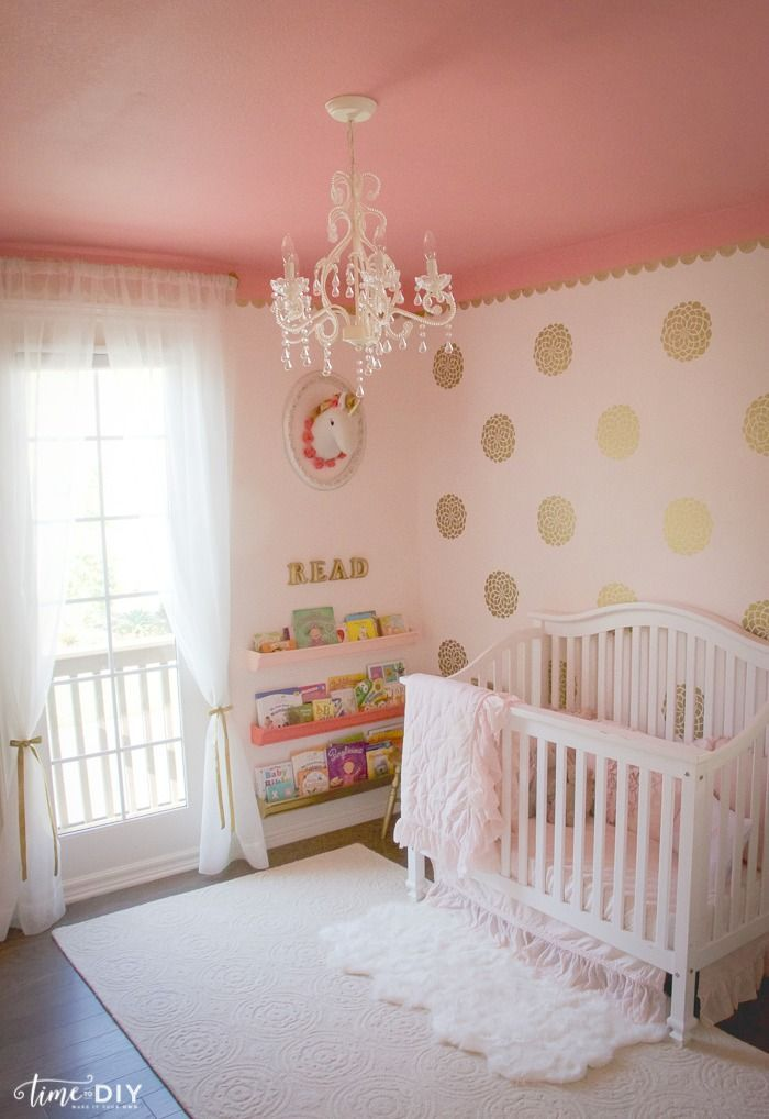 Debby From Time2diyblog Sure Knows How To Create The S Nursery Of Your Dreams Featuring Gold Wall Decals A Soft Pink Color