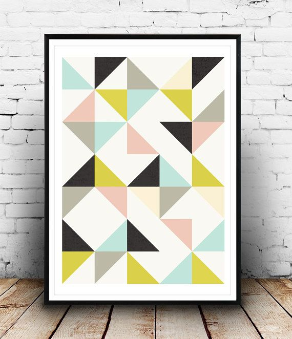 Abstract poster, geometric poster, Nursery print, Abstract triangles, pastel colors, geometric print, Scandinavian design, minimalist print