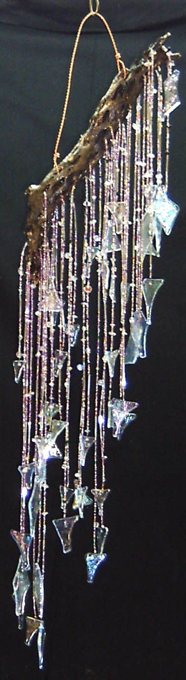 ~Enchanted Woods~ wind chime...wonderful recycled craft idea for glass beads driftwood