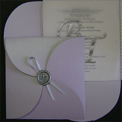 Ref Clover Lilac ( we can do any colour) www.weddingcards.co.za