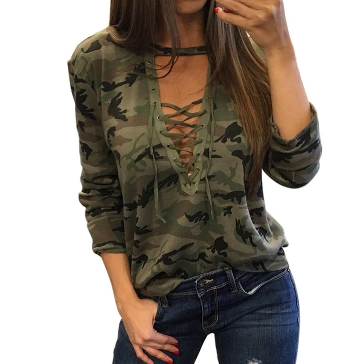 2017 Donne Sexy Con Cappuccio Camouflage V Neck Lace Up Felpe Moleton Feminino lacet bts Slaccia la Camicia Bandege Harajuku Tuta