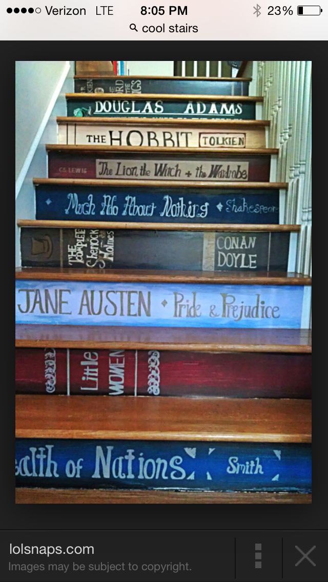 Big reader? Make your steps represent you by painting each step with a different book title. | interior design |eclectic | unique | dream homes