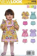 NEW Uncut New Look 6316 Baby Girl Clothes Dress Rompers Nappy Cover Bloomers