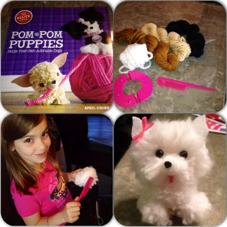 Pom Pom puppies from yarn!