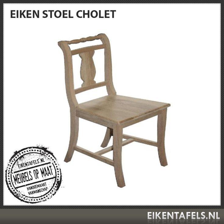 Onze eiken stoel Cholet is een echt keukenstoeltje. Hij zit heerlijk en past in ieder interieur. Deze schitterende afgewerkte eiken stoel is in verschillende hoogte te bestellen. In iedere gewenste kleur uit ons assortiment. Kom anders even proefzitten bij eikentafels.nl
