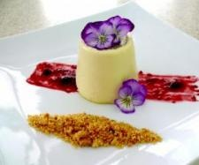 Vanilla Panna Cotta with a Milk Crumb and Berries