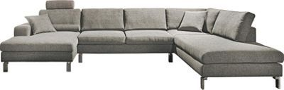 """Diese Wohnlandschaft aus der Kollektion """"MR 4500"""" von MUSTERRING passt perfekt in Ihr Wohnzimmer! Die Couch in schlichtem Grau besteht aus gewebtem Polyester mit alufarbenen Metallfüßen und bietet 4 komfortable Sitzflächen. Die bequeme Polsterung besteht aus Kaltschaum mit Wellenunterfederung. Ihr Vorteil: Das Sofa ist sehr abriebfest und lichtecht. Die Wohnlandschaft in U-Form hat den großzügigen Umfang von ca. 241 x 365 x 160 cm, eine Höhe von ca. 80 cm und eine Sitztiefe von ca. 60 cm…"""