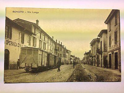 Rovato (BS) - cartolina animata con carri ferroviari - 1917