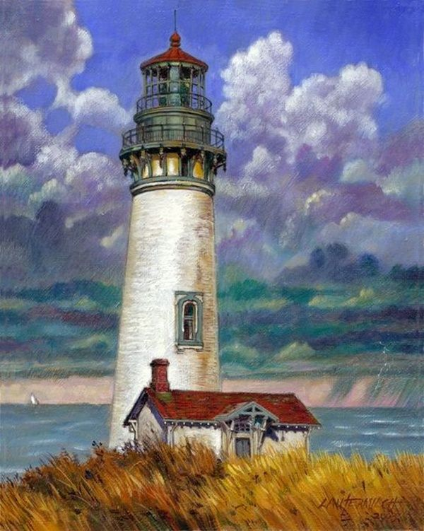 25 Simple And Easy Lighthouse Painting Ideas For Beginners Lighthouse Painting Lighthouse Art Oil Painting Landscape