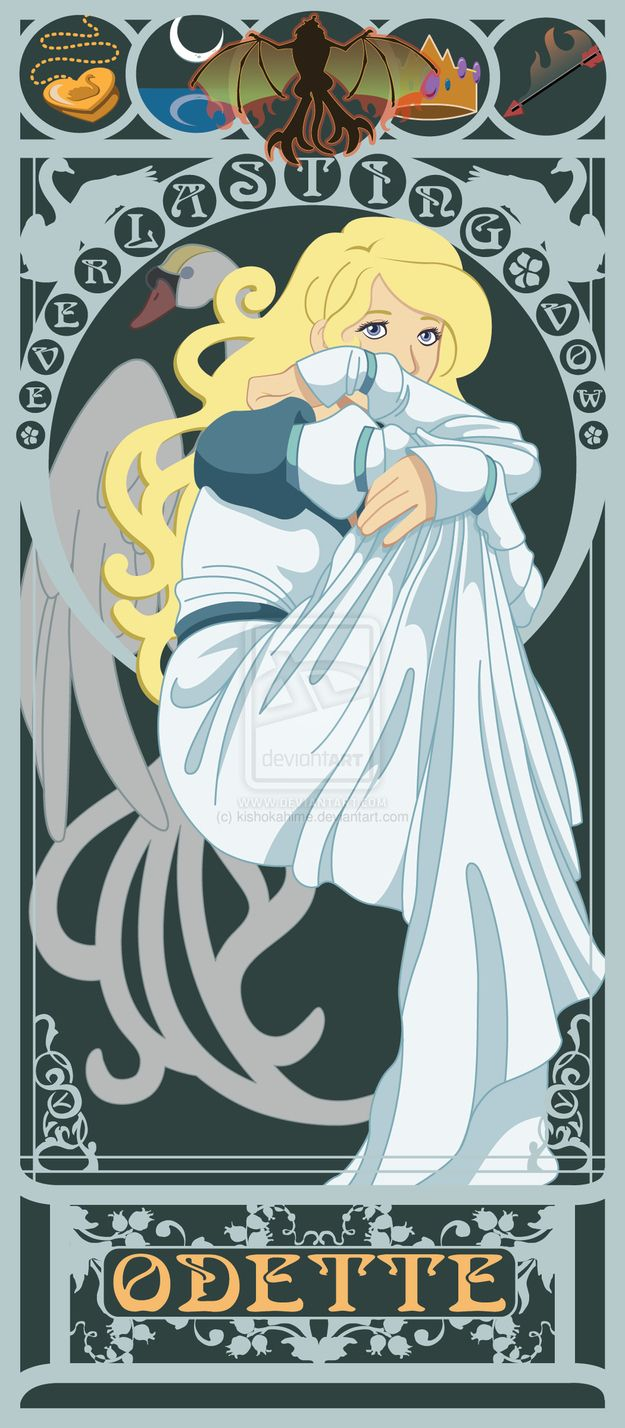Odette - The Swan Princess | 10 Beautiful Art Nouveau Posters Of '80s And '90s Movie Heroines
