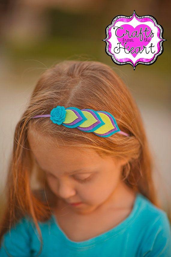 Fieltro diadema - bastante pavo real - capas de fieltro flor de plumas - 100% USA hecho sentir - Clip - fieltro de lana mezcla - bebé niño adolescente adulto