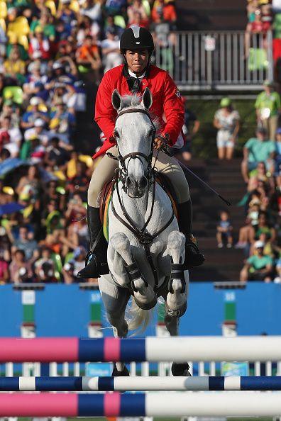 Leydi Laura Moya of Cuba competes during the Women's Riding Modern Pentathlon on…