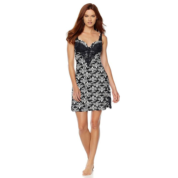 Rhonda Shear Molded Cup Solid Chemise with Lace Detail - Pattern/Print