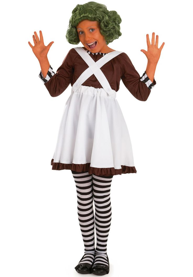 Kids Factory Worker Oompa Loompa Girl Costume - Children Fantasy Costumes at Escapade