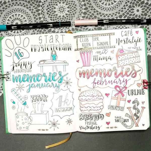 Bullet Journal Memory Pages For The Previous Two Months January February Bullet Journal Journal Bullet