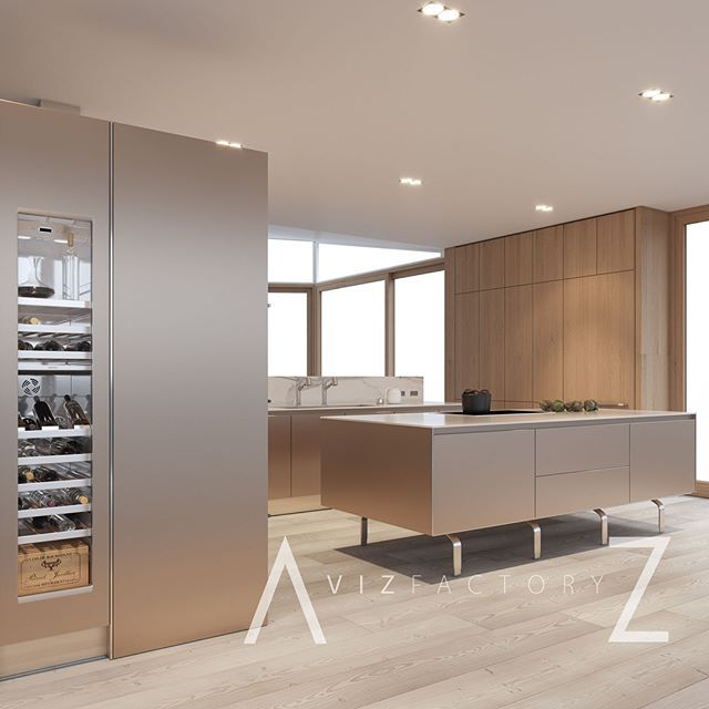 Beautiful Sand Beige Aluminium And Oak Bulthaup B3 Rendering By Azvizfactory Kitchendesign Interiordesign Design Corona Kuche Beige Gaggenau Kuchen Kuche