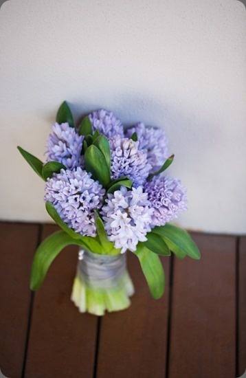 Purple Hyacinth Bouquet for Bridesmaids. Add Greener. Darker Purple.