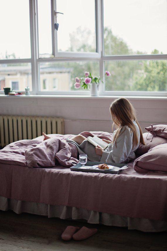 Linen Duvet Cover In Woodrose Dusty Pink Washed Linen Bedding Custom Sizes Farmhouse Decor Linen Duvet Covers Bed Linen Sets Linen Duvet