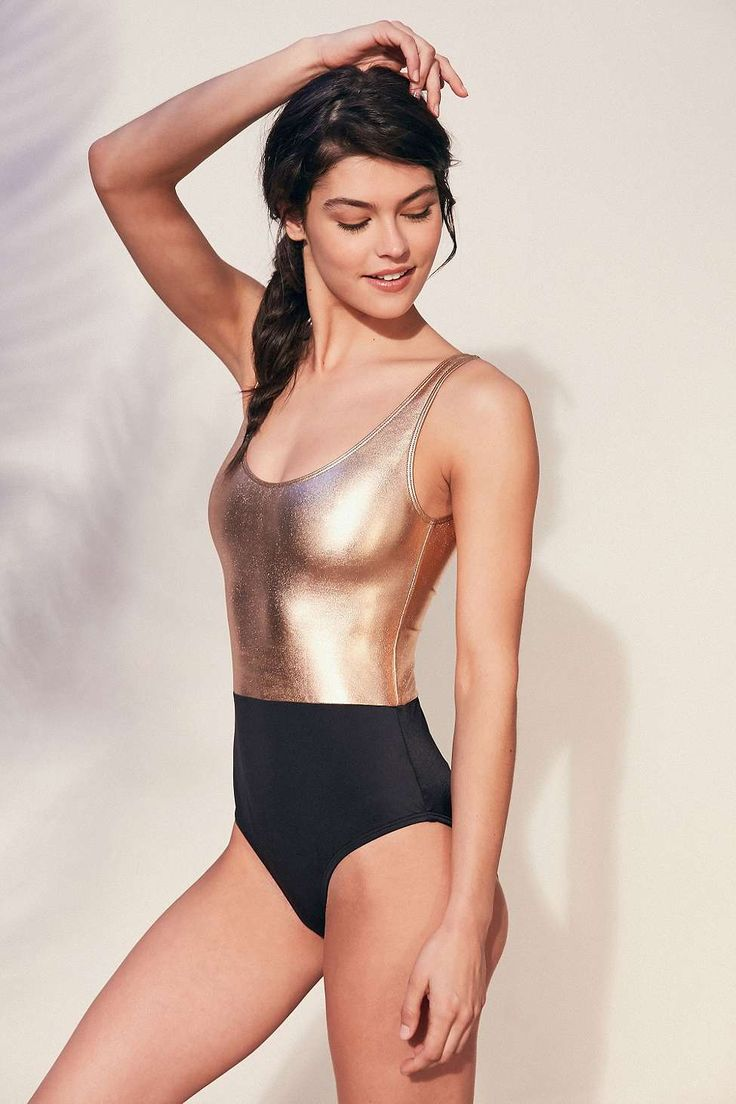 Out From Under Cher Two-Tone Gold Swimsuit - Urban Outfitters
