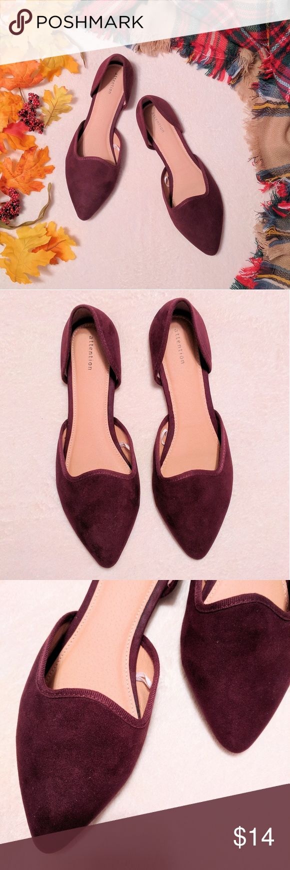 Women's Pointed Toe Flats These slip on women's flats are your go-to for everyday wear & feature a pointed toe. Open sides promote airflow while letting the synthetic suede heel cup and toe strap stand out. Slightly cushioned and featuring a quarter-inch heel, these shoes will keep you comfortable for any event. The plum color makes a perfect addition to your fall wardrobe! Measurement from point to heel is 10.75 inches. Shoes are in excellent condition and have only been worn once! Offers…